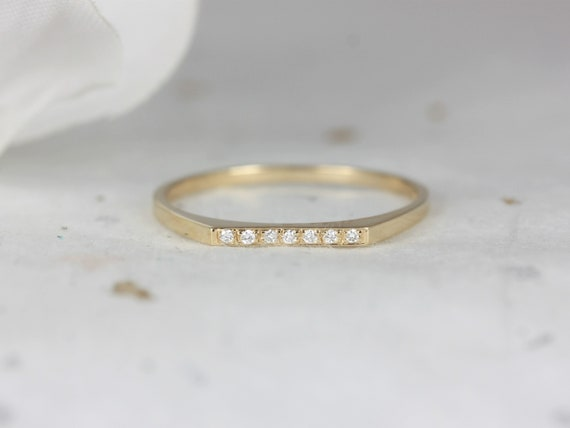 Ultra Petite Everly DIA 14kt Solid Gold Diamond Flat Top Stacking Ring,Petite Diamond Dainty Unique Ring,Rosados Box