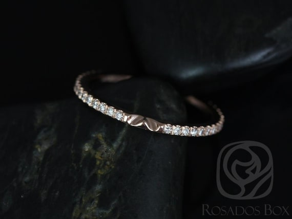 Rosados Box 14kt Rose Gold Matching Band to Ann 10x7mm Diamonds ALMOST Eternity Band NOTCHED