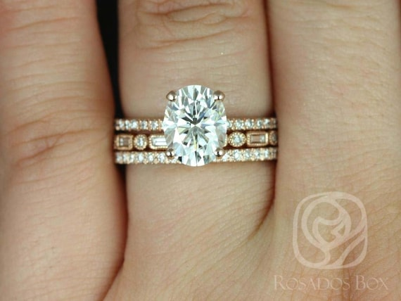 Rosados Box Hillary 9x7mm & Ivanna 14kt Rose Gold Oval Forever One Moissanite Diamond Basket TRIO Wedding Set Rings