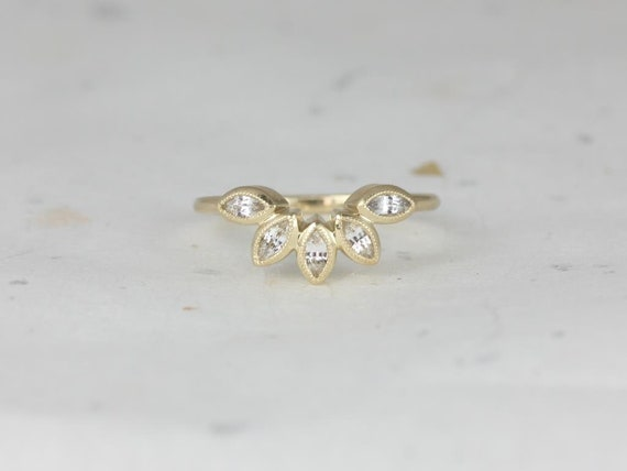Rosados Box DIAMOND FREE Petunia 14kt Yellow Gold Marquise White Sapphire Leaves WITH Milgrain Tiara Ring