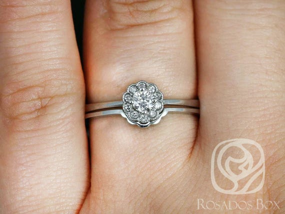 Conflict Free Magnolia 14kt White Gold Floral Diamond WITH Milgrain Cluster Wedding Set Rings,Rosados Box
