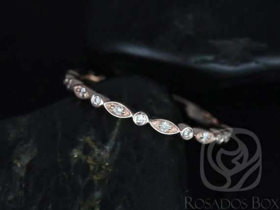 Ultra Petite Bead & Eye/Gwen 14kt Rose Gold Dainty Diamond Art Deco Vintage WITHOUT Milgrain ALMOST Eternity Stack Ring,Rosados Box