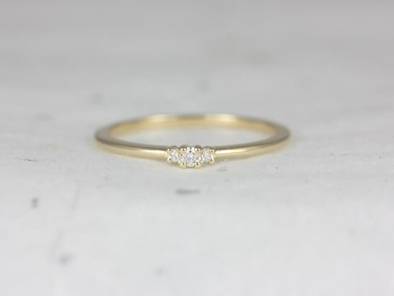 Round Diamond 3 Stone Stackable Ring, 14kt Solid Yellow Gold, Pax ,Rosados Box (S.L.A.Y. Collection)