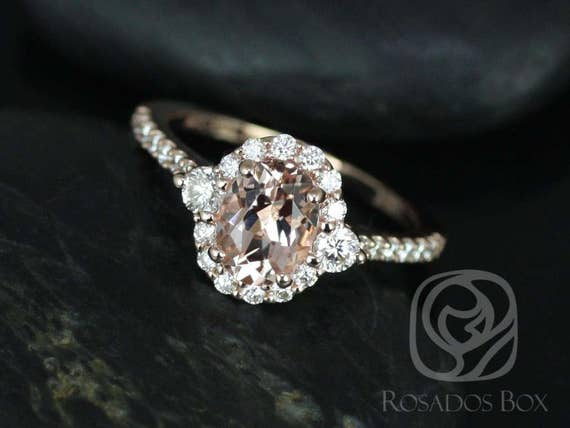 Rosados Box Bridgette 8x6mm 14kt Rose Gold Oval Morganite and Diamonds Halo Engagement Ring