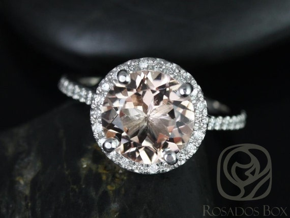 9mm Round Morganite Diamonds Dainty Micro Pave Halo Engagement Ring,14kt Solid White Gold,Kubian 9mm,Rosados Box
