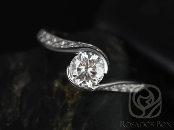 SALE Rosados Box Ready to Ship Odala 5.5mm 14kt White Gold Round FB Moissanite Diamonds Bypass Twisted Engagement Ring