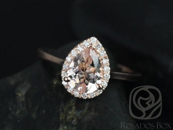 Rosados Box Julie 8x6mm 14kt Rose Gold Pear Morganite  and Diamonds Halo Engagement Ring