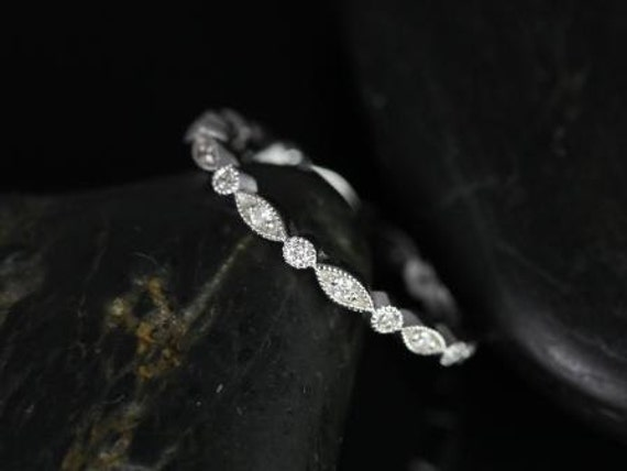 Ultra Thin Vintage Diamond WITH Milgrain FULL Eternity Band Stack Ring,14kt White Gold,Ultra Petite Bead & Eye/Gwen,Rosados Box