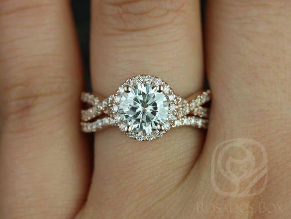 SALE Rosados Box Ready to Ship Gabi 7mm 14kt Rose Gold Round FB Moissanite & Diamond Twist Halo Wedding Set Rings