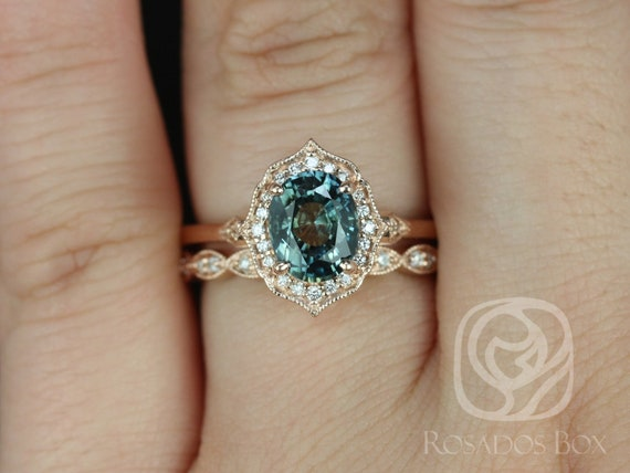 Rosados Box Mae 1.69cts & Christie 14kt Rose Gold Oval Green Tea Teal Sapphire and Diamond Halo Wedding Set