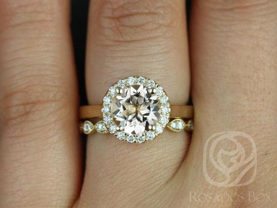 Rosados Box Feema 8mm & Leah 14kt Yellow Gold Round Morganite Diamond Halo Wedding Set Rings
