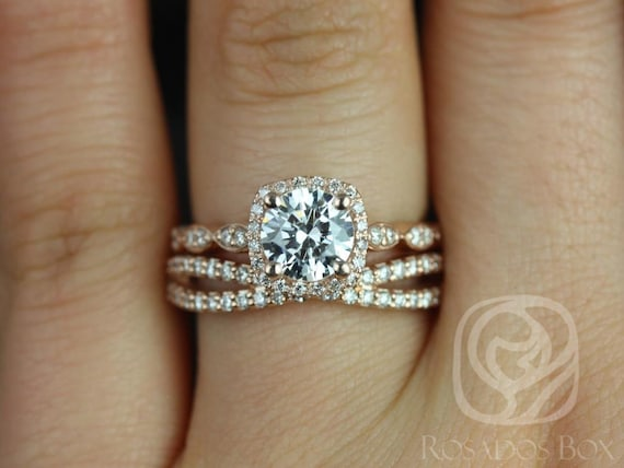 Rosados Box Christie 6.5mm & Skinny Lima 14kt F1- Moissanite and Diamond Halo WITHOUT Milgrain Wedding Set