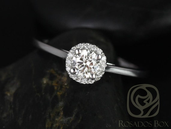 Amerie 4.5mm 1/3cts 14kt White Gold Diamond Dainty Pave Round Halo Engagement Ring,Rosados Box