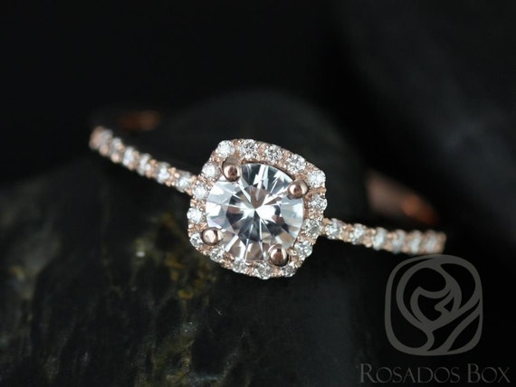 Rosados Box Barra 5mm 14kt Rose Gold Round White Topaz and Diamonds Cushion Halo Engagement Ring