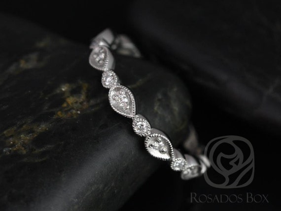 Rosados Box Madeline 14kt White Gold Pear and Bubble Diamonds ALMOST Eternity Band