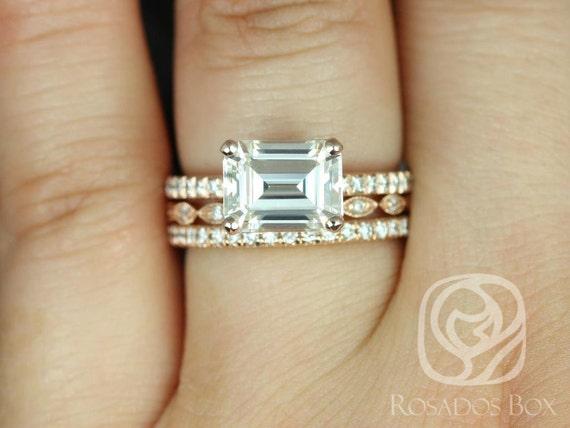 Rosados Box Becca 9x7mm & Ult Pte Leah 14kt Gold Emerald Forever One Moissanite Diamond TRIO Wedding Set Rings