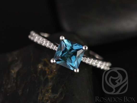 Rosados Box Taylor 6mm 14kt White Gold Princess London Topaz and Diamonds Cathedral Engagement Ring