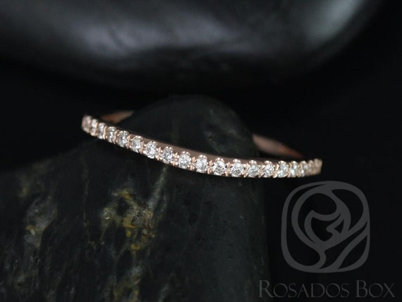 Curved Diamonds Pave Matching Band to Giselle  HALFWAY Eternity Band Ring,14kt Solid Rose Gold,Rosados Box