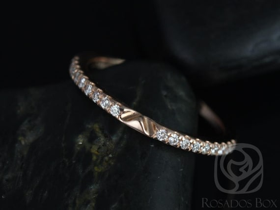 14kt Matching Band to Roxie Size Diamonds HALFWAY Pave Eternity Band Ring,Rosados Box