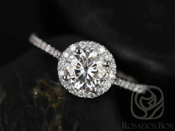 Rosados Box Kubian 6mm Platinum Round Forever One Moissanite and Diamonds Halo Engagement Ring