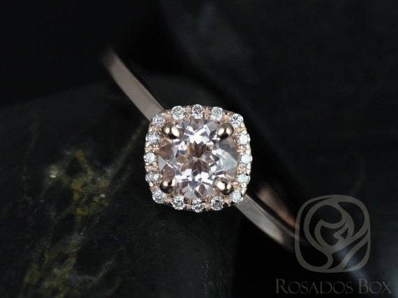 Rosados Box Ready to Ship Kyla 5mm 14kt Rose Gold Morganite Diamond Cushion Kite Unique Halo Engagement Ring
