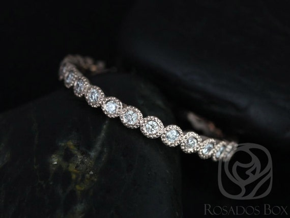 Ready to Ship Petite Bubbles 14kt Rose Gold Diamond Bezel WITH Milgrain FULL Eternity Band Dainty Ring,Rosados Box