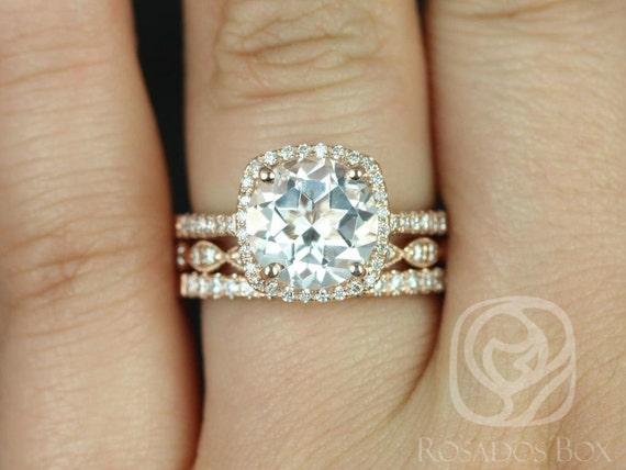 Rosados Box Barra 9mm & Christie 14kt Rose Gold Round White Topaz Cushion Diamond Halo TRIO Wedding Set Rings
