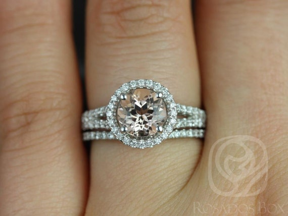 Rosados Box Morgan 7mm 14kt White Gold Round Morganite and Diamonds Halo With Split Shank Wedding Set