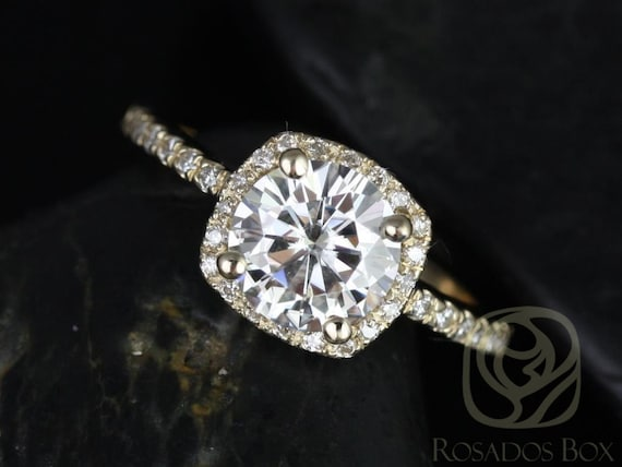 Rosados Box Barra 7mm 14kt Gold Round Forever One Moissanite Diamonds Thin Cushion Halo Engagement Ring