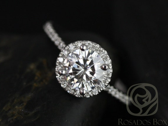 Rosados Box Kimberly 7.5mm 14kt White Gold Round F1- Moissanite and Diamonds Halo Engagement Ring