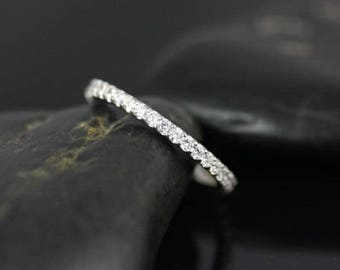 Rosados Box Ready to Ship Mohma 14kt White Gold Scalloped Diamonds FULL Eternity Band