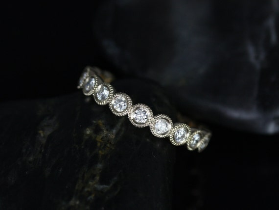 Rosados Box Medium Bubbles 14kt Yellow Gold Round Bezel WITH Milgrain Beading Diamonds FULL Eternity Band