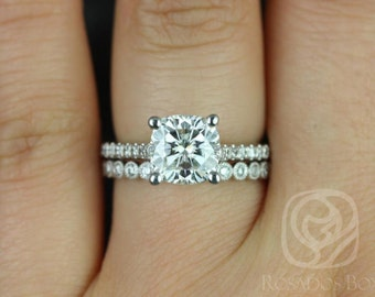 Rosados Box Jenelle 7.5mm & Petite Bubbles 14kt White Gold Cushion F1- Moissanite and Diamonds Cathedral Wedding Set