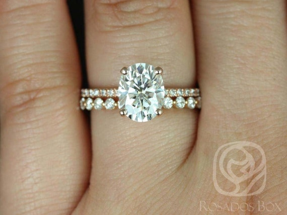Rosados Box Hillary 9x7mm & Naomi 14kt Rose Gold Oval Forever One Moissanite Diamond Basket Wedding Set Rings