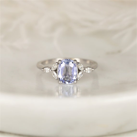1.49ct Ready to Ship Geneva 14kt White Gold Cornflower Lavender Sapphire Diamond Marquise Dainty Cushion Cluster 3 Stone Ring,Rosados Box