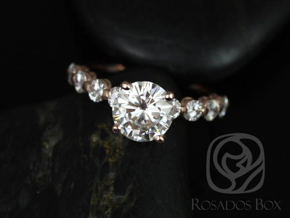 Ready to Ship DIAMOND FREE Haylie 8mm Bridged 14kt Rose Gold Swooped Round FB Moissanite Engagement Ring