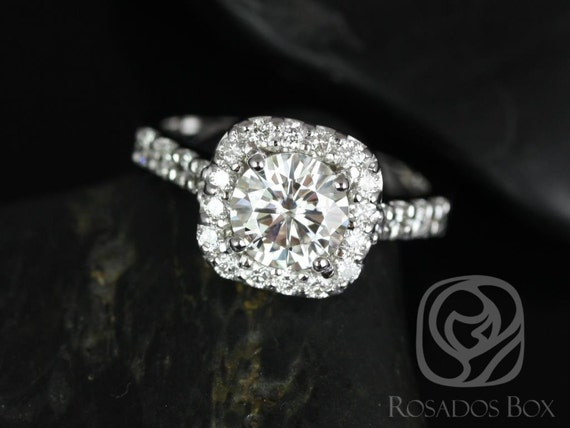 Rosados Box Trisha 7mm 14kt White Gold Round Forever One Moissanite Diamonds Cushion Halo Engagement Ring
