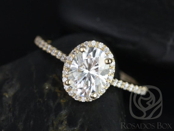 1.50cts Oval Forever One Moissanite Diamond Thin Halo Engagement Ring, 14kt Solid Yellow Gold , Rebecca 8x6mm, Rosados Box