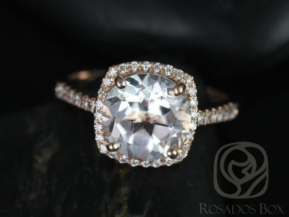 Rosados Box Barra 9mm 14kt Rose Gold  Round White Topaz and Diamonds Cushion Halo Engagement Ring