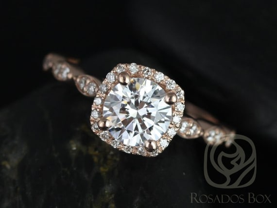 Rosados Box Christie 6.5mm 14kt Gold Forever One Moissanite Diamond Halo WITHOUT Milgrain Engagement Ring