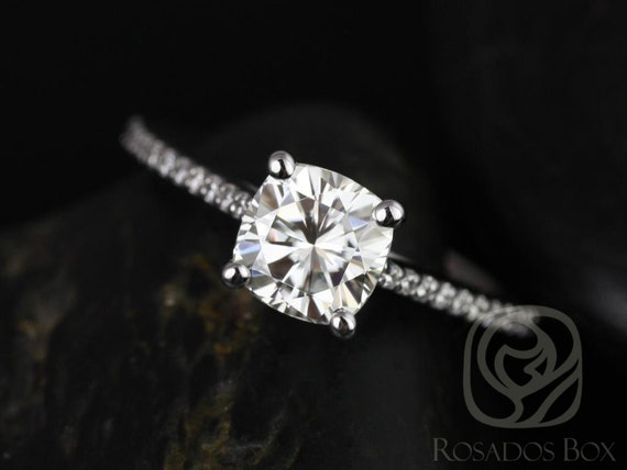 1.30cts Cushion Forever One Moissanite Diamonds Thin Cathedral Engagement Ring, 14kt Solid White Gold, Marcelle 6.5mm, Rosados Box