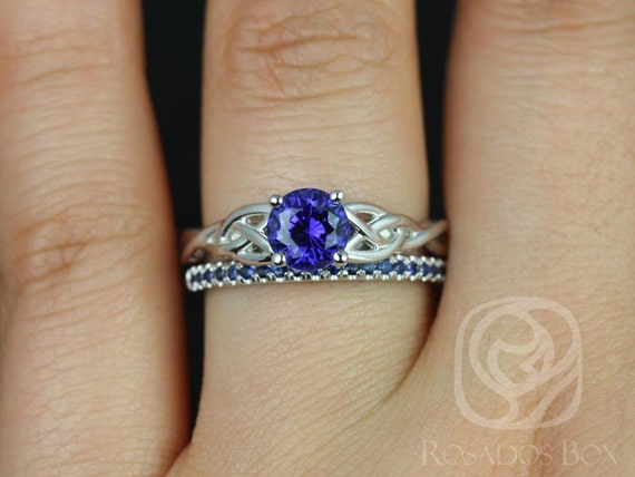 6mm Round Blue Sapphire Celtic Love Knot Triquetra Wedding Set Rings Rings,14kt Solid White Gold,Cassidy 6mm & Kierra,Rosados Box