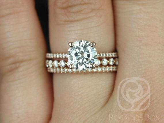 1.50ct Eloise 7.5mm & Petite Naomi 14kt Rose Gold Forever One Moissanite Diamonds Dainty Thin Round TRIO Wedding Set Rings,Rosados Box
