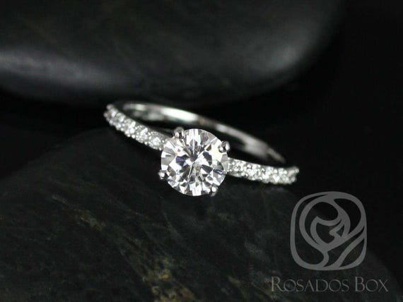 Ready to Ship 1ct Round Forever One Moissanite Diamonds Non-Cathedral Solitaire Engagement Ring,14kt White Gold,Sarah 6.5mm,Rosados Box