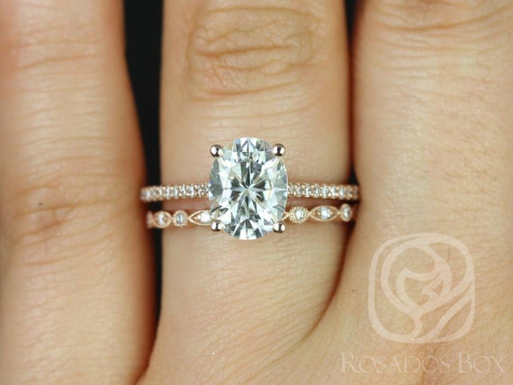 2cts Oval Forever One Moissanite Diamonds Thin Cathedral Wedding Set Rings Rings , 14kt Solid Rose Gold , Blake 9x7mm & Gwen , Rosados Box