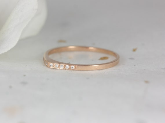 Ultra Petite Edo DIA 14kt Solid Gold Diamonds Open Guitar Pick Stacking Ring,Petite Diamond Dainty Tear Drop Band,Rosados Box