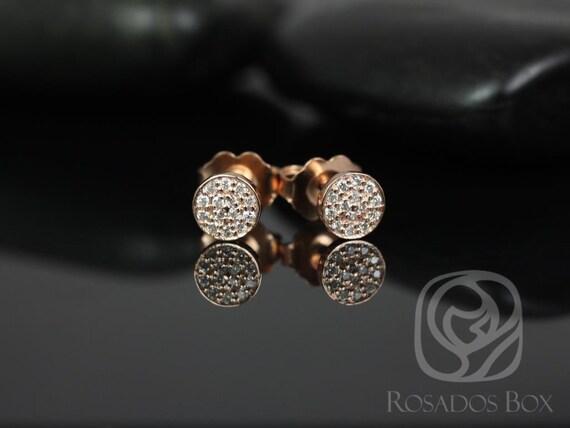 Rosados Box Diskco 5mm 14kt Rose Gold Diamond Pave Disk Stud Earrings