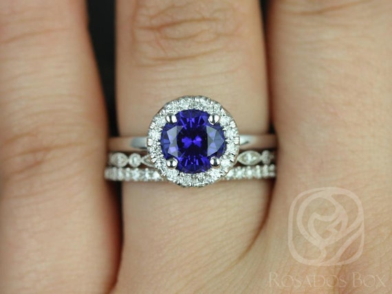 Katie 7mm-Gwen-Tabitha 14kt White Gold Round Blue Sapphire Diamonds Dainty Pave Round Halo TRIO Wedding Set Rings,Rosados Box