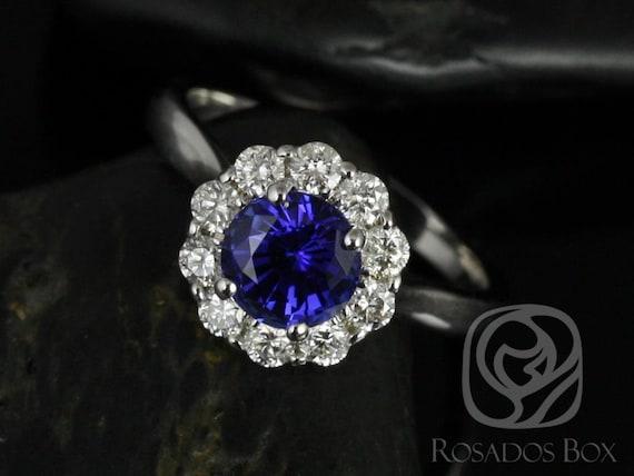 Rosados Box Blossom 6.5mm 14kt White Gold Round Blue Sapphire Diamonds Flower Halo Engagement Ring