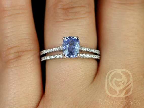1.63ct Cushion Lavender Purple Sapphire Diamonds Thin Cathedral Wedding Set Rings,14kt White Gold,Ready to Ship Blake 1.63cts,Rosados Box
